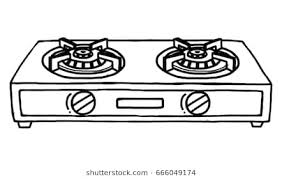 Gas Stoves Cartoon Vector And Illustration Black White Hand Drawn Sketch