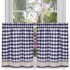 White Cotton Kitchen Curtains by Buffalo Check Kitchen Curtains Set Of 2 Walmart Com