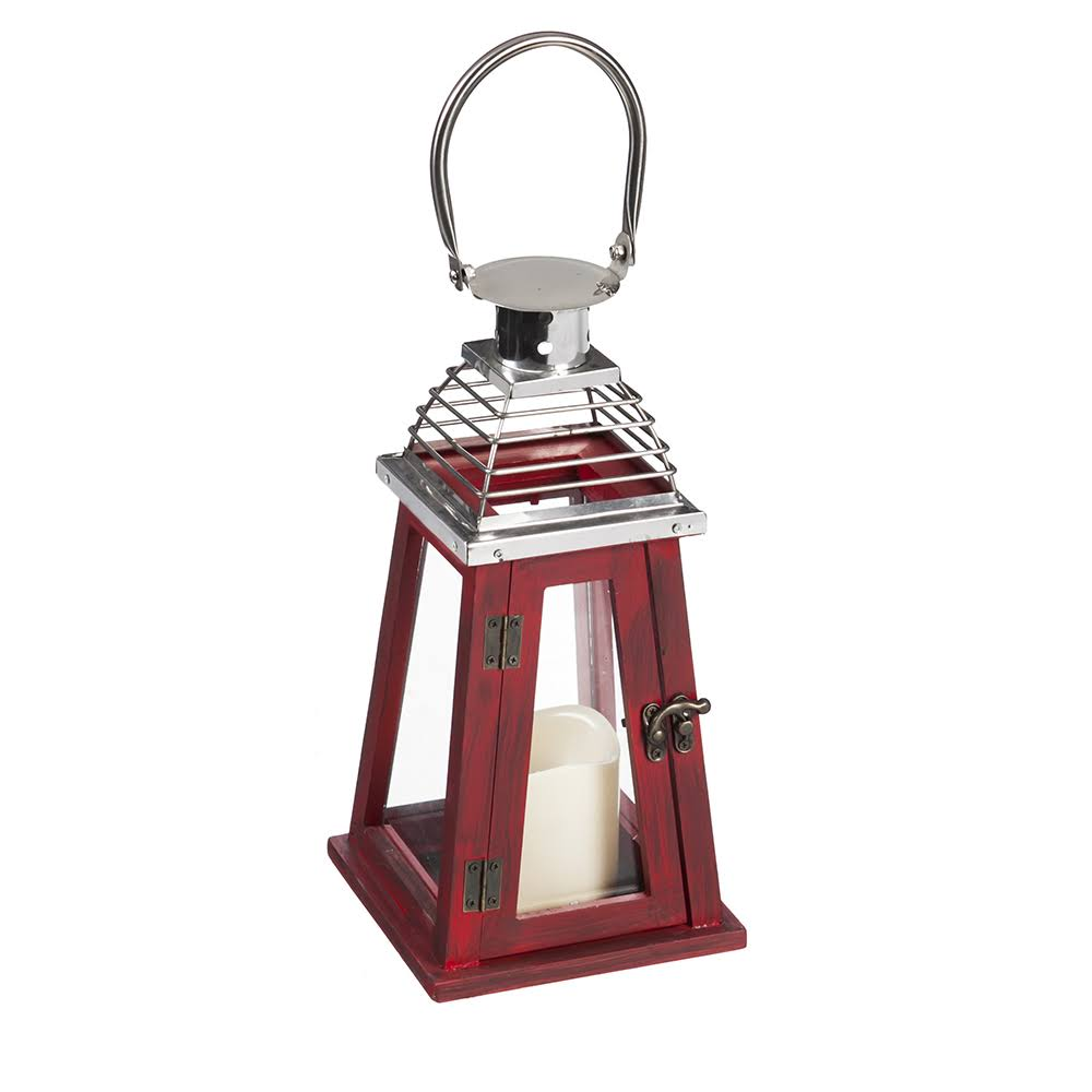 Red Battery-Powered Stainless Steel and Wood Lantern with LED Candle