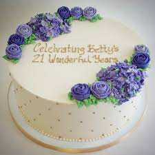 Round Cake Purple Buttercream Rosettes by Fluffy Thoughts Cakes