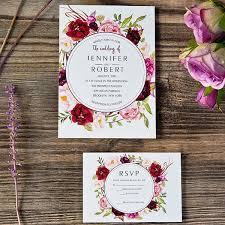 Cheap Burgundy Floral Boho Wedding Invitations EWI421