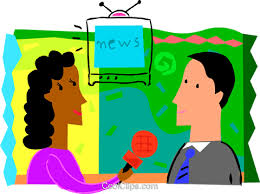 Female News Reporter Interviewing Man Royalty Free Vector Clip Art Illustration