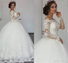 2017 New y Arabic Long Sleeves Ball Gown Wedding Dresses Illusion