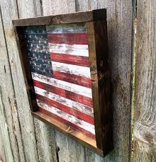 Americana Decor Wood Sign Framed Wooden American Flag