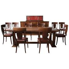 Rare French Art Deco Walnut Dining Room Set By Jean Charles Moreux Conjeaud Chappey