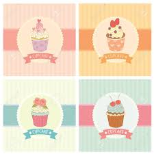 drawing bakery cafe The cupcakes decoration with background and ribbon Vintage style pastel color