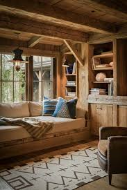 In My One Day Cabin This Is Reading NookBuilt Bed Bookshelves A Window Nook Timber Fram Style Rustic And Beautiful