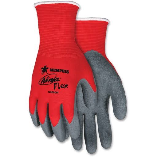 Memphis Ninja Flex Latex Coated Palm Gloves - Red and Grey, Medium