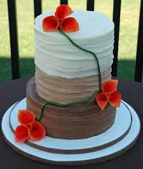 Fall Wedding Cake Rustic Buttercream Finish With Fire Calla Lilies
