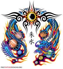 Chinese Dragon Tattoo With Tribal Flames And Planets