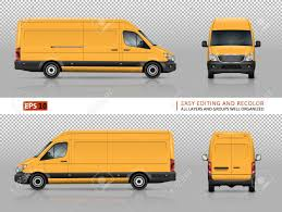 100 Commercial Truck And Van Yellow Vector Template For Car Branding Advertising