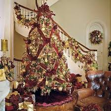 Frontgate Burgundy Gold Christmas Tree Love The Basket Weave Ribbon Pattern