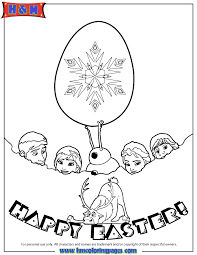 Frozen Characters Happy Easter Coloring Page