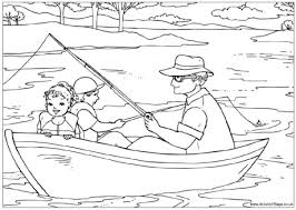 Fishing With Grandad Colouring Page