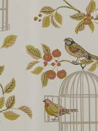 Wallpaper Birdcage Renoir Floral Grey And Blush Pink