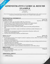 Administrative Clerical Resume Example