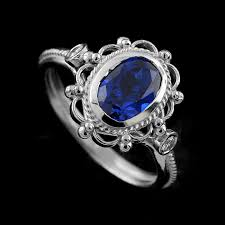 White Gold Vintage Oval Blue Sapphire Diamond Engagement Ring