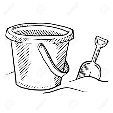 Doodle Style Childrens Beach Sand Castle Bucket And Shovel In Vector Format Stock Photo