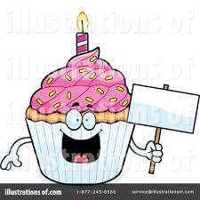 Royalty Free RF Birthday Cupcake Clipart Illustration by Cory Thoman Stock Sample