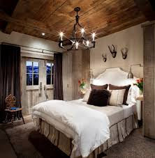 Country Bedroom Design Ideas with Wood ceiling and Vintage Lamp