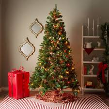 Shop 7 Foot Pre Lit Artificial Christmas Tree W Clear Or Multicolor Bulbs