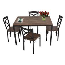 Karmas Product 5 Piece Dining Table Set For 4 Chairs Wood And Metal Kitchen  Table Modern And Sleek Dinette Hever Ding Table With 5 Chairs Bench Chelsea 5piece Round Package Aqua Drewing And Chair Set By Benchcraft Ashley At Royal Fniture Trudell Upholstered Side Signature Design Dunk Bright Lawson Piece Includes 4 Liberty Darvin Barzini Black Leatherette Coaster Value City Pc Kitchen Set A In Buttermilk Cherry East West The District Leaf Intercon Wayside Grindleburg Vesper Round Marble Ding Table Piece Set Brnan Amazoncom Tangkula Pcs Modern Tempered
