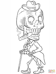 Click The Day Of Dead Skeleton Coloring Pages To View Printable