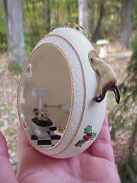 Ebay Christmas Trees India by Real Goose Egg Hand Decorated Christmas Ornament Gift Cat Mouse