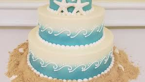 Ombre Beach Wedding Cake With Piping Starfish Details