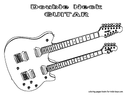 Guitar Coloring Page Grand Guitars Free Electric Online