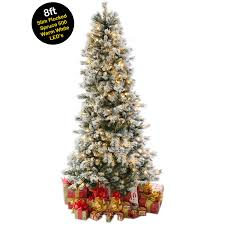 7ft Pre Lit Christmas Trees by 8ft 2 4m Slim Snow Flocked Spruce Pre Lit Christmas Tree With