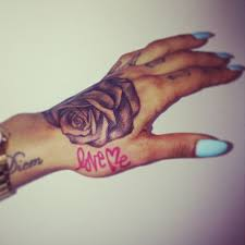 Love Me Grey Ink Rose Hand Tattoos For Women