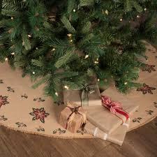 Jute Burlap Poinsettia Tree Skirt 60 Primitive Country Farmhouse Holiday Christmas Home Decor Bedding