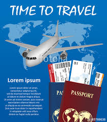 Business Trip Banner With Passport Tickets Airplane And Earth On Background Air Travel