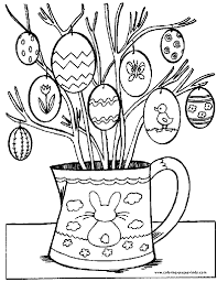 Easter Egg Tree Color Page Holiday Coloring Pages Plate