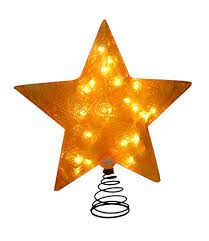 Barcana 20 Inch Illuminated Fiberglass Christmas Tree Topper Gold Star Light