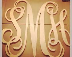 24 INCH 3 Wooden Vine Connected Monogram Letter