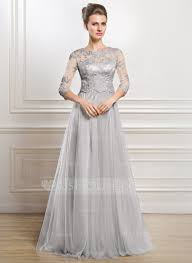 a line princess scoop neck floor length tulle mother of the bride