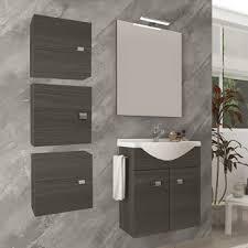 badezimmer badmöbel 55 cm aus eiche dunkel holz mit keramik waschtisch