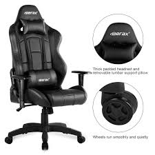 Merax Office Chair High Back Ergonomic Gaming Chair PU Leather Adjustable  Height Rotating Lift Chair Folding Chair Equal Portable Easy Folding Recling Zero Gravity Chair National Public Seating Details About White Leather Padded Desk Seat Back Rest Office Computer Garden Beige Vinyl Stackable Merax High Ergonomic Gaming Pu Leather Adjustable Height Rotating Lift Advantage Grey Dove 1in Hamc309avgygg Maple Wood 5pc Xl Series Card Table And Ultra Thick Set Black 2418usb A Shape Heavyduty Premium 2 Fabric By 3200 Hercules With Inch