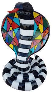 casa padrino designer dekofigur cobra schlange schwarz weiß bunt h 90 cm wohnzimmer deko skulptur gartendeko skulptur wetterbeständige