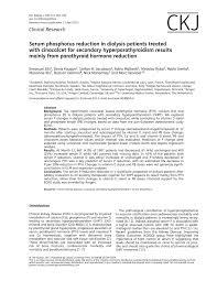 pth normal range uk serum phosphorus reduction in dialysis patients treated with