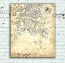 APARECIDA De Goiania CANVAS Print Brazil Vintage Map City Gift