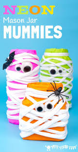 Diy Halloween Pathway Lights by Neon Mason Jar Mummies Fun Halloween Crafts Neon And Craft