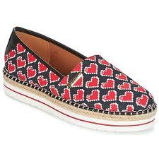 Schuhe Damen Leinen Pantoletten Mit Gefloch Love Moschino JA10103G15 Schwarz Rot