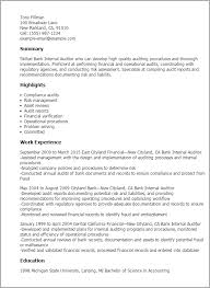 Inspiration Resume Summary Examples Banking For Professional Bank Internal Auditor Templates To Showcase Your