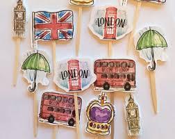 London England British Party Cupcake Toppers Picks Theme Big Ben Bat Mitzvah
