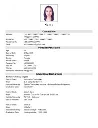 Form Of Resume For Job
