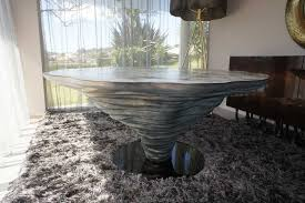 Organic Design Dining Table Steel Lacquered Metal Marble