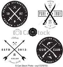 Vector Gun And Sword Logo Badge Set